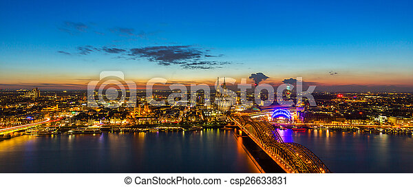 Cologne city at sunset - csp26633831