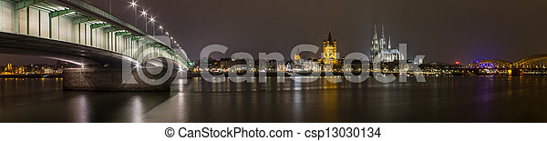 cologne city night panorama - csp13030134