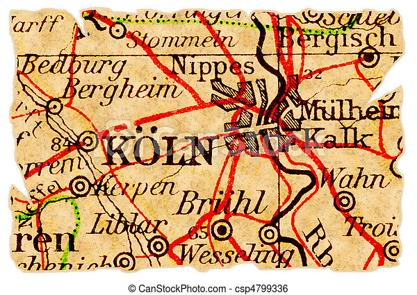 Cologne old map Cologne or kln germany on an old torn map