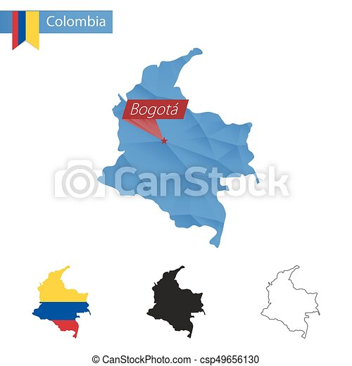 Colombia blue low poly map with capital bogota. Colombia blue low ...