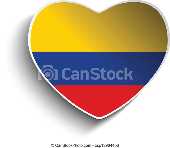 Colombia flag heart paper sticker csp13904456