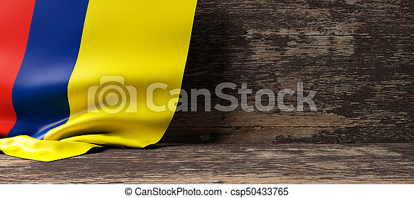 Colombia flag on wooden background. 3d illustration - csp50433765