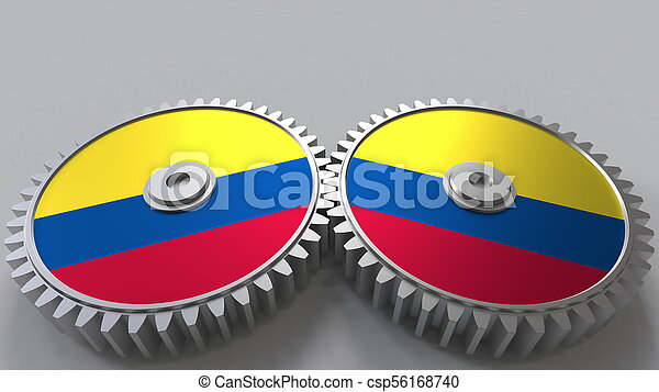 Colombian national project. Flags of Colombia on moving cogwheels. Conceptual 3D rendering - csp56168740