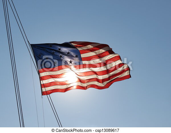 Vector Colonial American Flag Graphic Vector American Flag Image