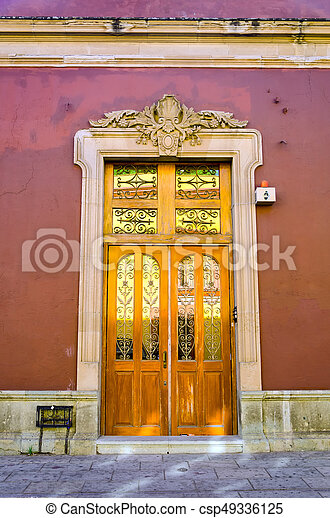 Colonial Facade of a House in Oxaca - csp49336125