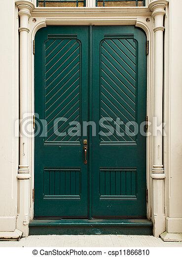 Colonial Green Door - csp11866810