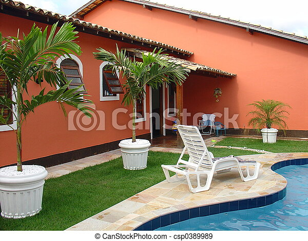 Colonial red house - csp0389989