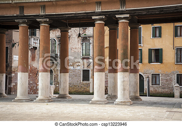 Colonnade and buildings, Venice - csp13223946
