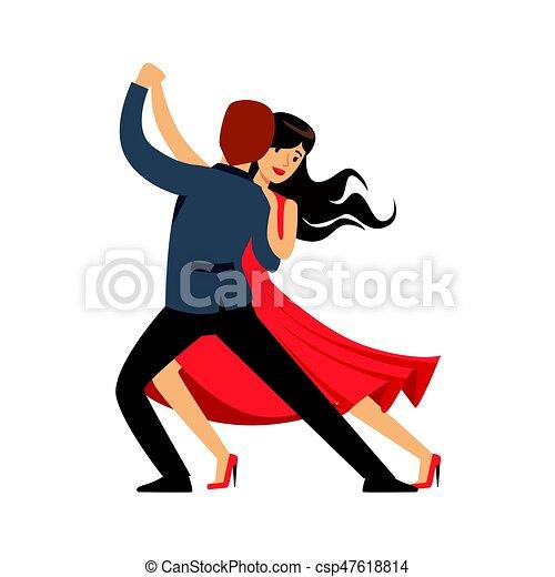 Bien connu Clipart Vecteur de coloré, danse, danseur, couple, caractère  EP63