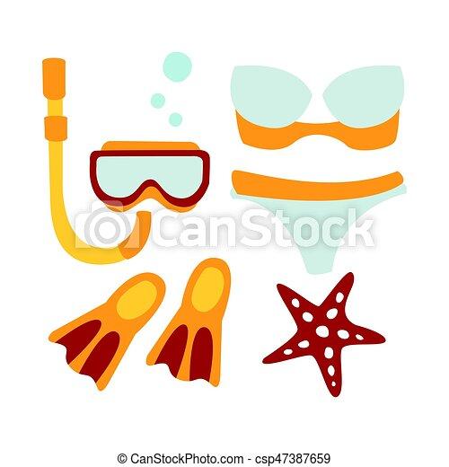 Color accessoires illustration maillot de bain diving dessin anim femmes color isol - Dessin de maillot de bain ...