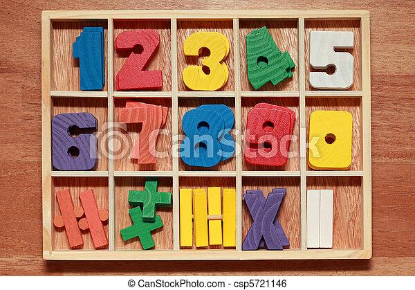 coloré, bois, âge, jeu, nombres, signes, junior, math - csp5721146