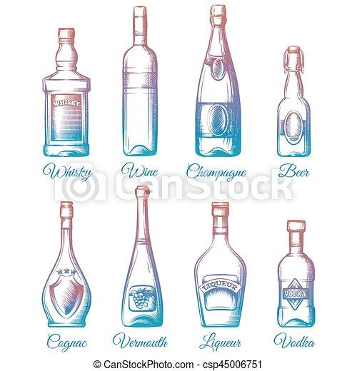 coloré, bouteilles, alcool, collection - csp45006751