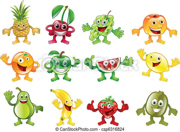 coloré, ensemble, caractère, fruit, mascottes - csp6316824