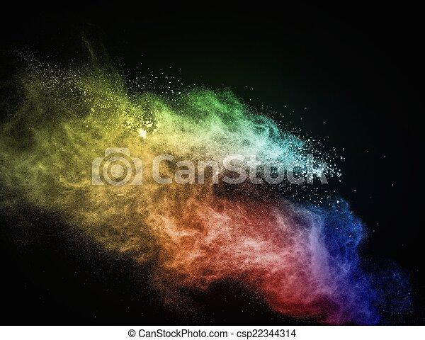 coloré, exploser, noir, isolé, poudre - csp22344314