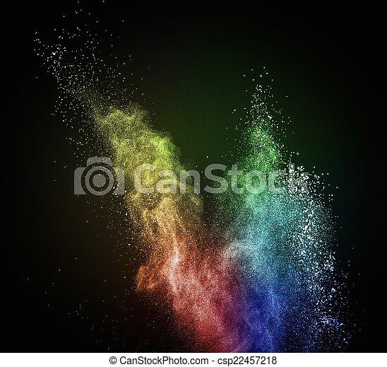 coloré, exploser, noir, isolé, poudre - csp22457218