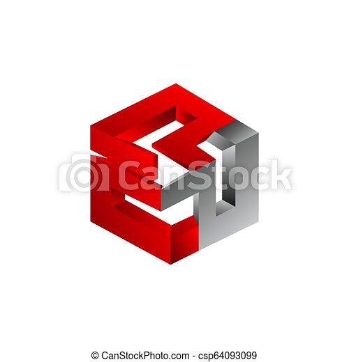 coloré, formé, résumé, trois dimensionnel, vecteur, hexagone, symbole - csp64093099
