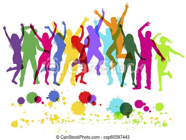 coloré, gens, danse, isolé, silhouettes, white., partie. - csp60397443