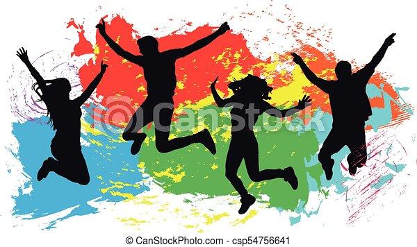 coloré, gens, silhouette, clair, sauter, eclabousse, fond, encre, amis - csp54756641