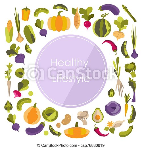 coloré, impression, textiles, circle., arrière-plan violet, utile, légumes, autocollant, vecteur, ferme, sain, eco, lifestyle., produits - csp76880819