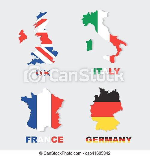 Carte France Italie Dessin.Colore Italie France Cartes Drapeaux Royaume Uni Allemagne