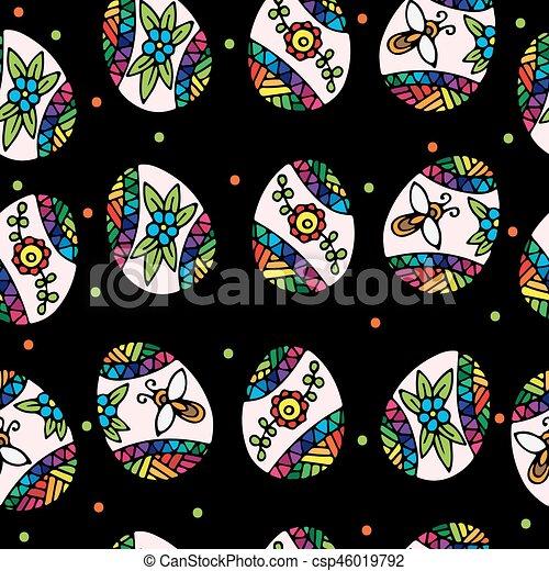 coloré, modèle, oeufs, seamless, arrière-plan noir, paques - csp46019792