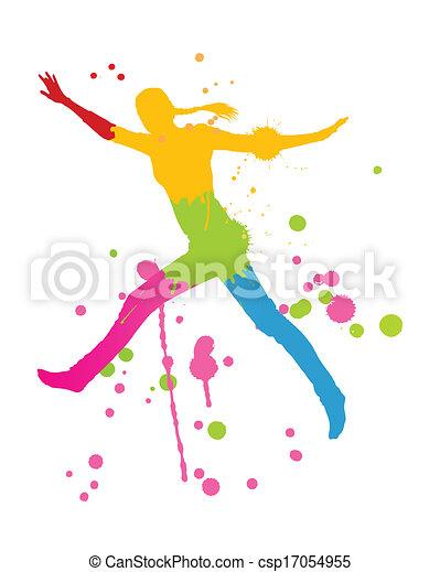 coloré, personne, clair, vecteur, eclabousse, fond, encre, heureux - csp17054955