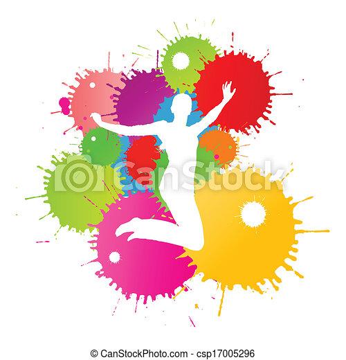 coloré, personne, clair, vecteur, eclabousse, fond, encre, heureux - csp17005296