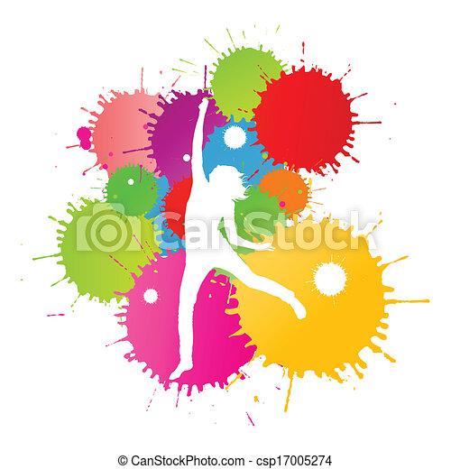 coloré, personne, clair, vecteur, eclabousse, fond, encre, heureux - csp17005274