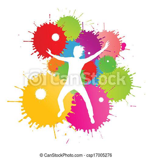 coloré, personne, clair, vecteur, eclabousse, fond, encre, heureux - csp17005276