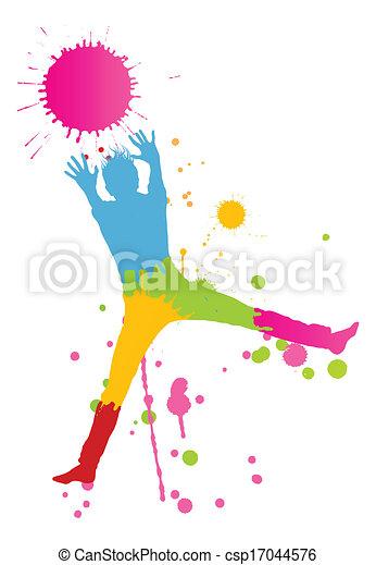 coloré, personne, clair, vecteur, eclabousse, fond, encre, heureux - csp17044576