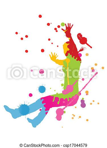 coloré, personne, clair, vecteur, eclabousse, fond, encre, heureux - csp17044579