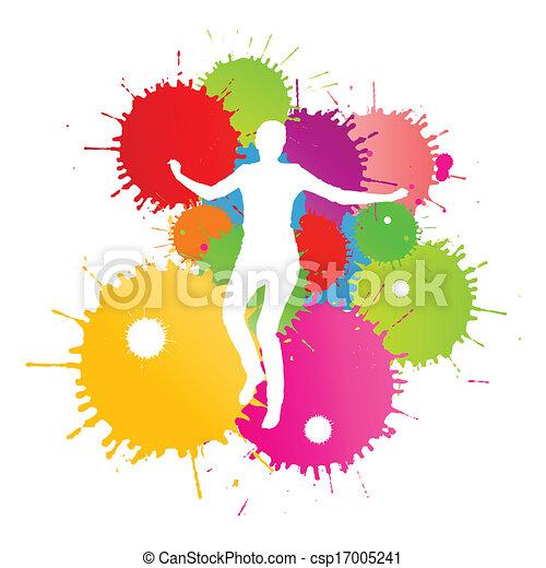 coloré, personne, clair, vecteur, eclabousse, fond, encre, heureux - csp17005241