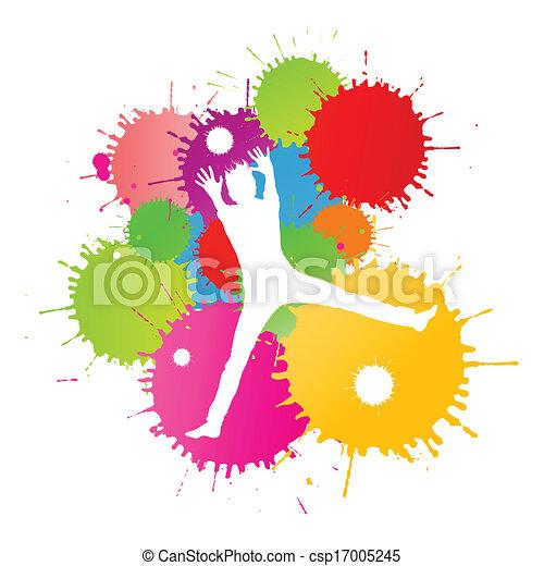 coloré, personne, clair, vecteur, eclabousse, fond, encre, heureux - csp17005245