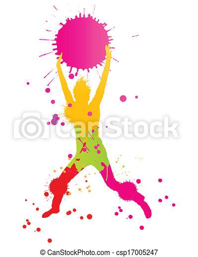 coloré, personne, clair, vecteur, eclabousse, fond, encre, heureux - csp17005247
