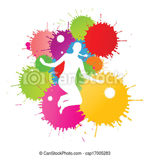 coloré, personne, clair, vecteur, eclabousse, fond, encre, heureux - csp17005283