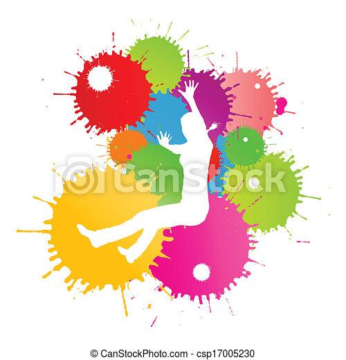 coloré, personne, clair, vecteur, eclabousse, fond, encre, heureux - csp17005230
