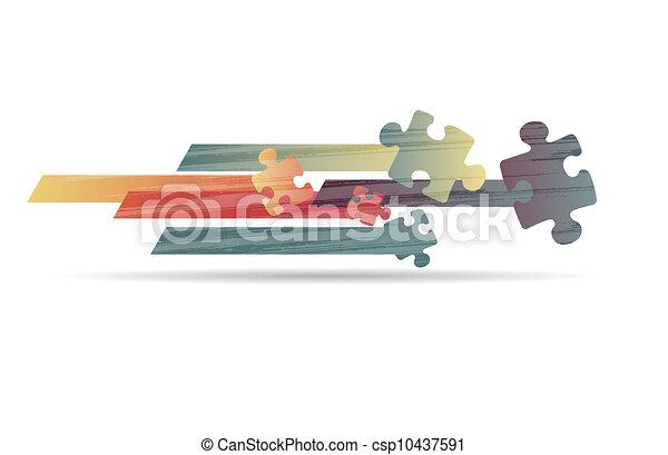 coloré, puzzle, forme, vecteur, conception, résumé - csp10437591