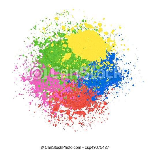 coloré, résumé, splashes., arrière-plan., clair, vecteur, poudre, holi, bannière, texture., heureux - csp49075427