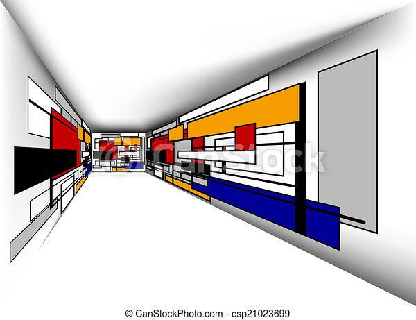 coloré, salle, perspective - csp21023699