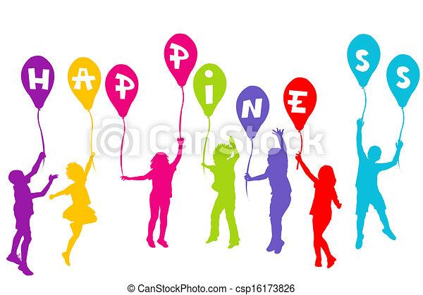 coloré, silhouettes, tenue, ballons, enfants, bonheur - csp16173826