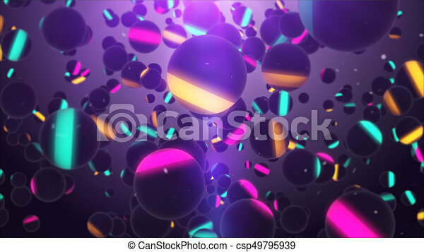 coloré, voler, air, sombre, sphères, nombreux - csp49795939