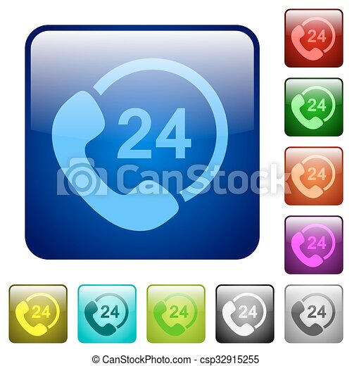Color 24 hour service square button - csp32915255