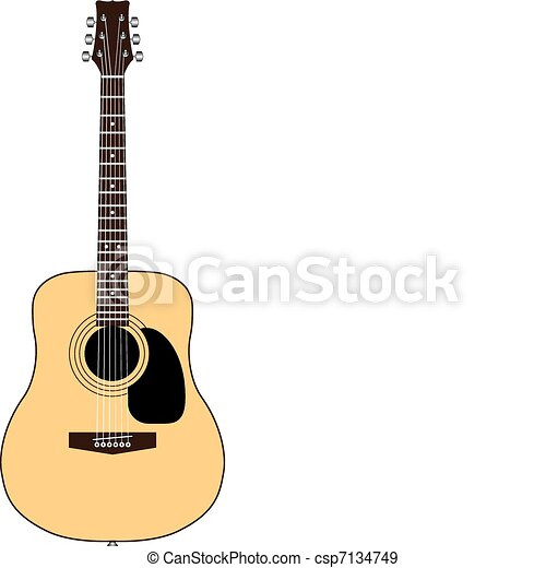 Color acoustic guitar. Acoustic guitar isolated on white.