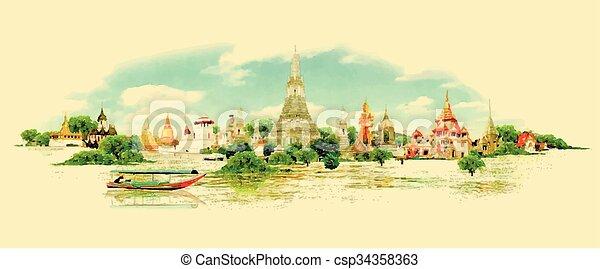 Vector de color de agua vista panorámica bangkok - csp34358363