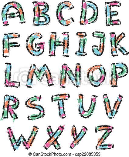 Color alfabeto inglés en estilo garabato - csp22085353