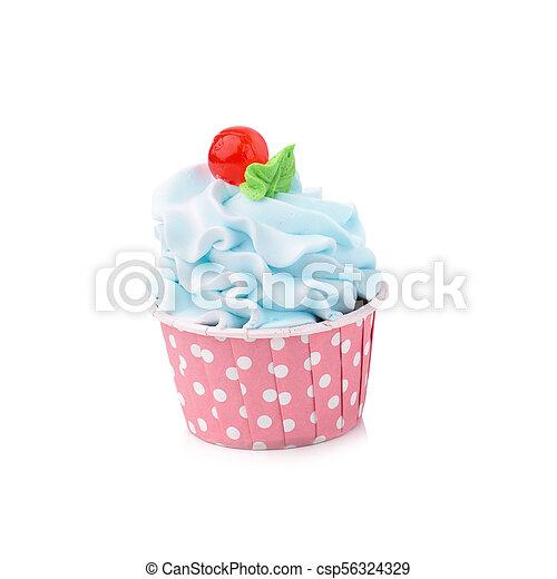 Un delicioso pastelillo de cumpleaños en color amarillo - csp56324329