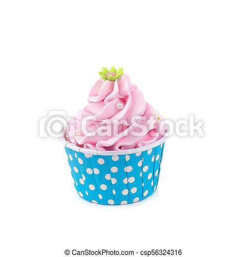 Un delicioso pastelillo de cumpleaños en color amarillo - csp56324316