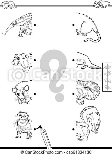 Coinciden las mitades de los personajes de animales - csp61334130