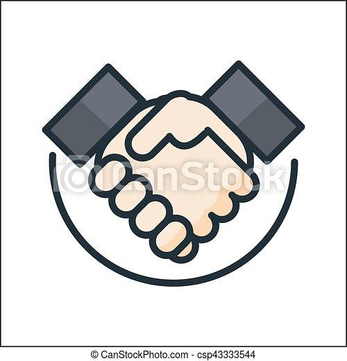 Acuerdo de mano color icono - csp43333544