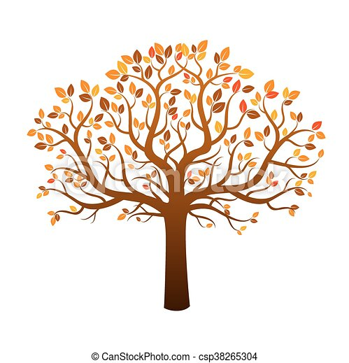 Color Autumn Tree And Leafs Vector Illustration